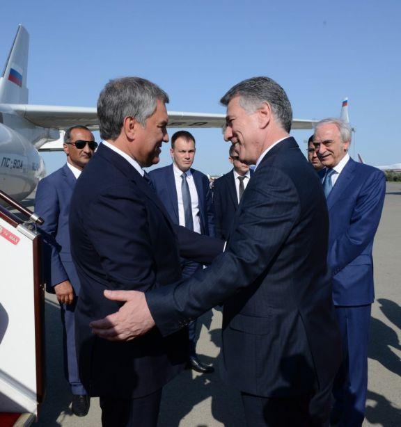 Председатель Госдумы России Вячеслав Володин прибыл в Азербайджан - ФОТО