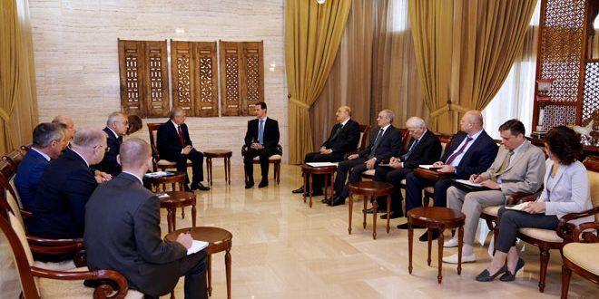 الرئيس الأسد يستقبل لافرينتييف وفيرشينين: سورية مستمرة في العمل مع كل من لديه الإرادة الحقيقية للقضاء على الإرهاب وإعادة الاستقرار