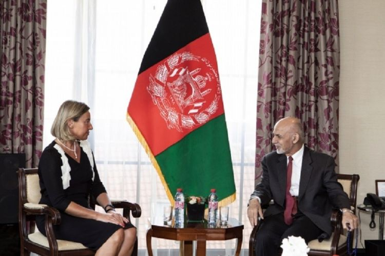 Federica Mogherini and Afghan President Ashraf Ghani discuss