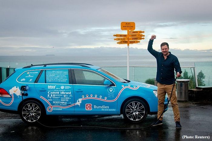 Longest ever drive in electric car finishes in New Zealand after 3 years