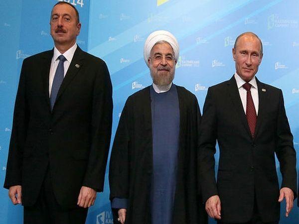 لقاء علييف - بوتين - روحاني - باكو تؤيد علاقات حسن الجوار