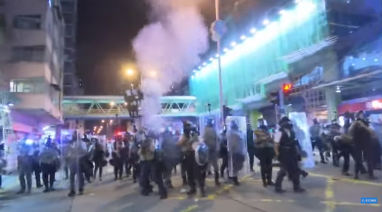 Watch: Hong Kong police fire tar gas at protesters in new clashes - VIDEO