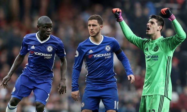 Image result for kante Hazard and Courtois