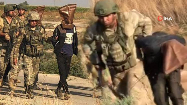 Türk ordusunun Suriyada əsir götürdüyü terrorçuların - VİDEOsu