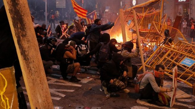 Friday's riots in Barcelona leave at least 62 injured