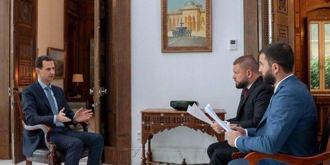 الرئيس الأسد في حوار مع قناة روسيا (24) ووكالة روسيا سيفودنيا: الوجود الأمريكي في سورية سيولد مقاومة عسكرية تؤدي إلى خسائر بين الأمريكيين وخروجهم - الفيديو