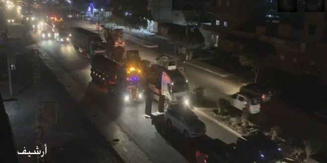 قوات الاحتلال الأمريكي تدخل قافلة ضخمة إلى القامشلي مؤلفة من شاحنات محملة بمواد لوجستية