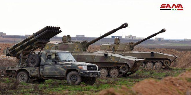 """الجيش يستهدف برمايات مدفعية وصاروخية أوكاراً ومحاور تسلل إرهابيي """"جبهة النصرة"""" بريف منطقة معرة النعمان الجنوبي"""