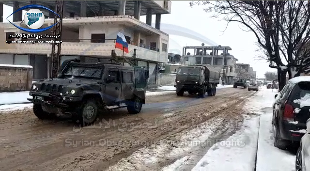 Russian military vehicles moving forward Tal Tamer area