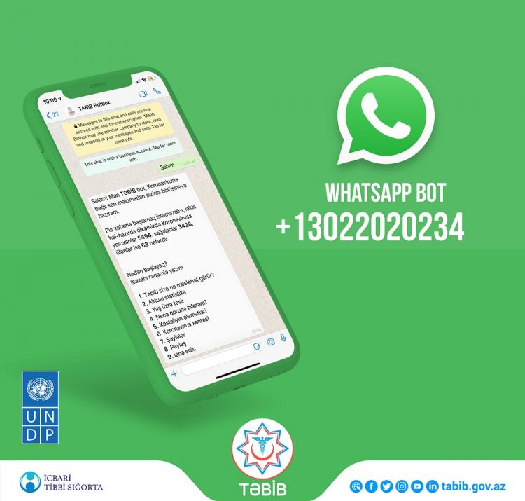 WhatsApp bot launched by TABIB and UNDP to keep Azerbaijan's citizens up to date on the latest COVID-19 info