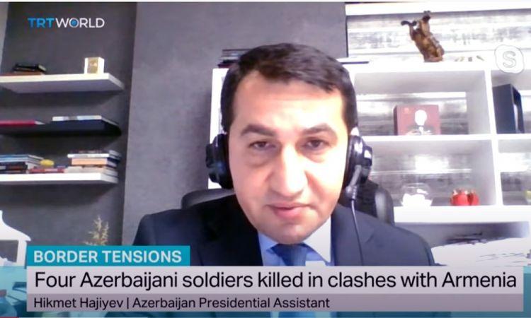 مساعد الرئيس: افلات ارمنيا من العقوبة يسوقها الى مغامرات واستفزازات عسكرية تالية ارمينيا تهدف الى انشاء بؤرة نزاع حربي أخرى عند حدود البلدين