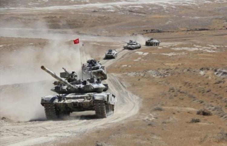 شاهد بالفيديو مناورات عسكرية بالاسلحة الثقيلة بين أذربيجان وتركيا - الفيديو