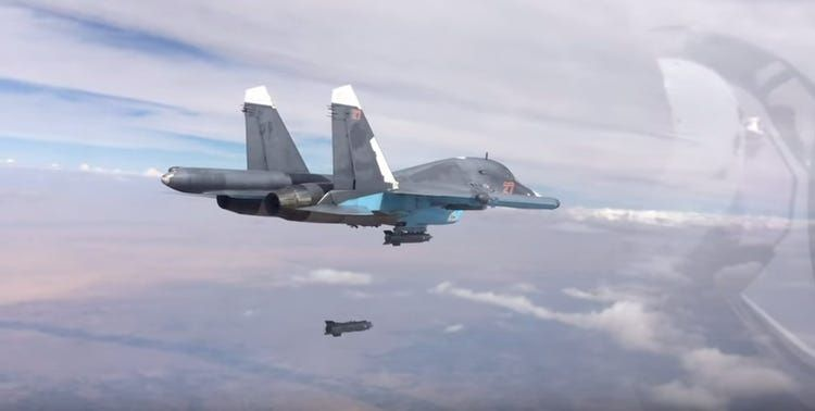 Russian Su-34 fighter-bomber with a series of strikes in Idlib, Syria
