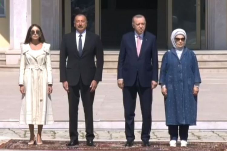 Official welcome ceremony is being held for Turkish President Recep Tayyip Erdogan in Shusha - VIDEO