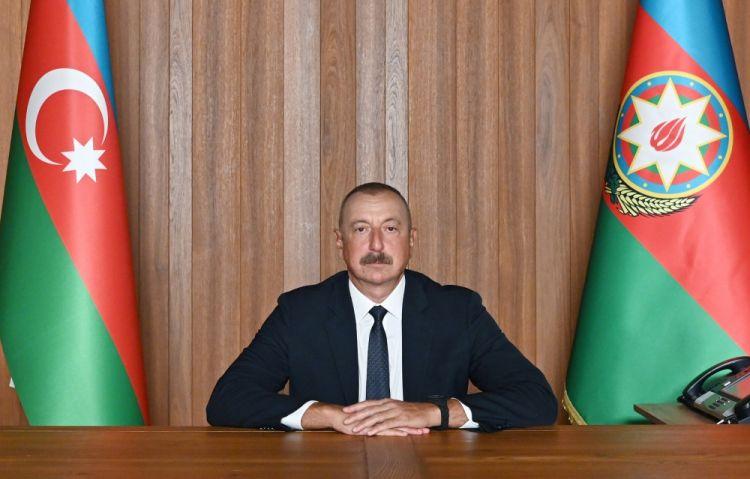 عرض الخطاب المصوَّر للرئيس إلهام علييف رئيس جمهورية أذربيجان في المناقشات العامة السنوية في إطار الدورة الـ76 للجمعية العامة لمنظمة الأمم المتحدة