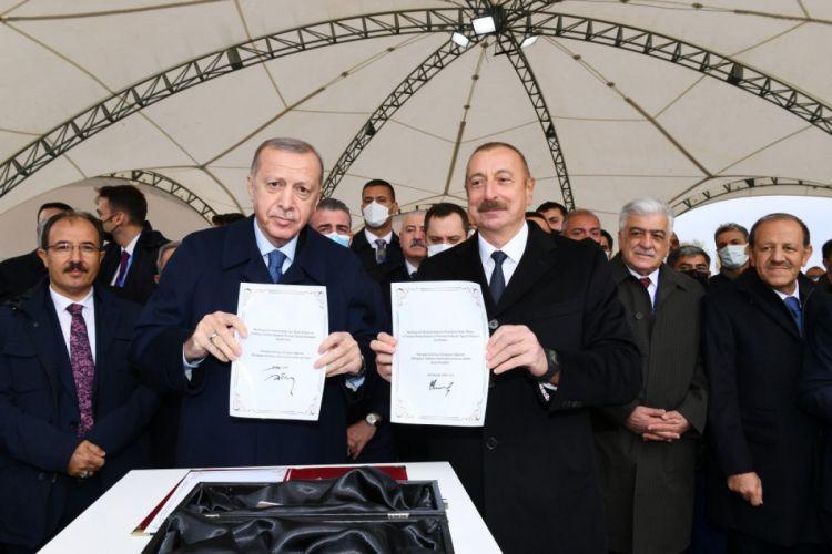 Президенты Азербайджана и Турции заложили фундамент автомобильной дороги Горадиз-Джабраил-Зангилан-Агбенд (Зангезурский коридор)